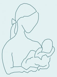 mum and baby line drawing
