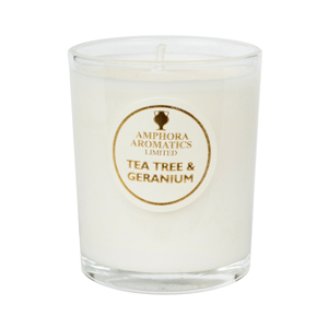 t tree & geranium mini candle